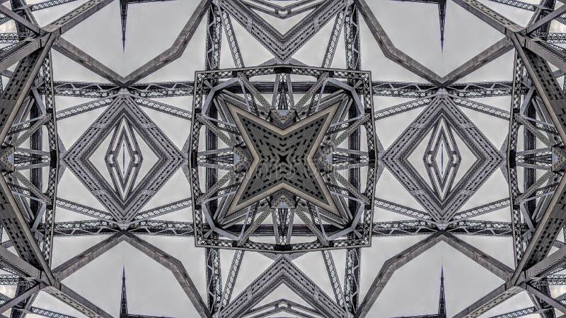 金属桥梁结构的超现实的作用 皇族释放例证