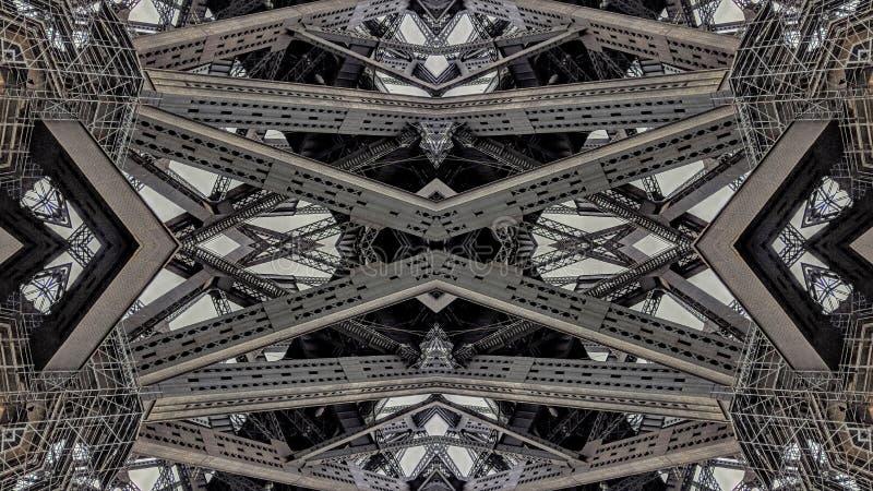 金属桥梁结构的超现实的作用 向量例证