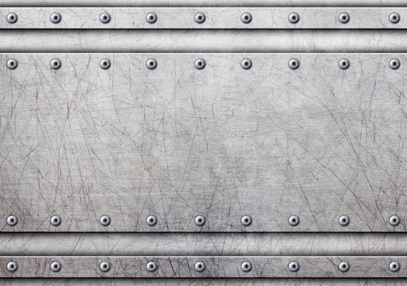 金属片与在土气钢背景, 3d, illust的铆钉 库存例证