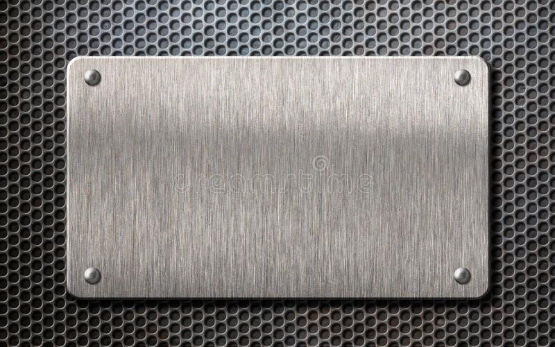 金属片在梳子栅格背景3d例证 库存例证