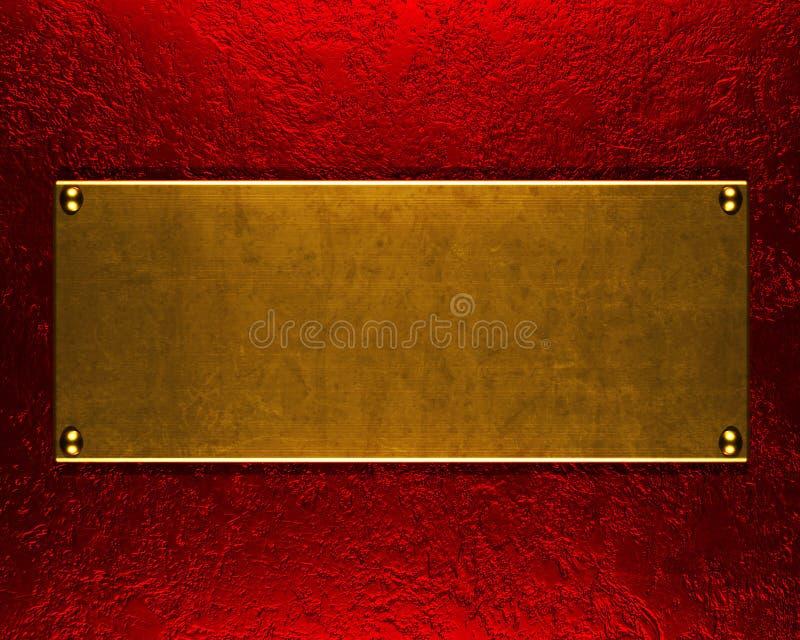 金属片背景的金子 库存例证