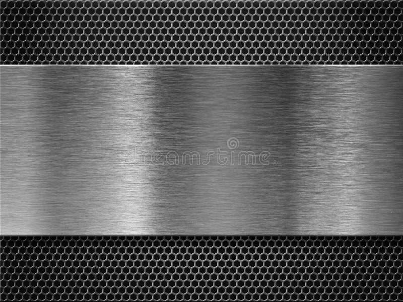 金属片超出梳子花格背景 免版税库存图片