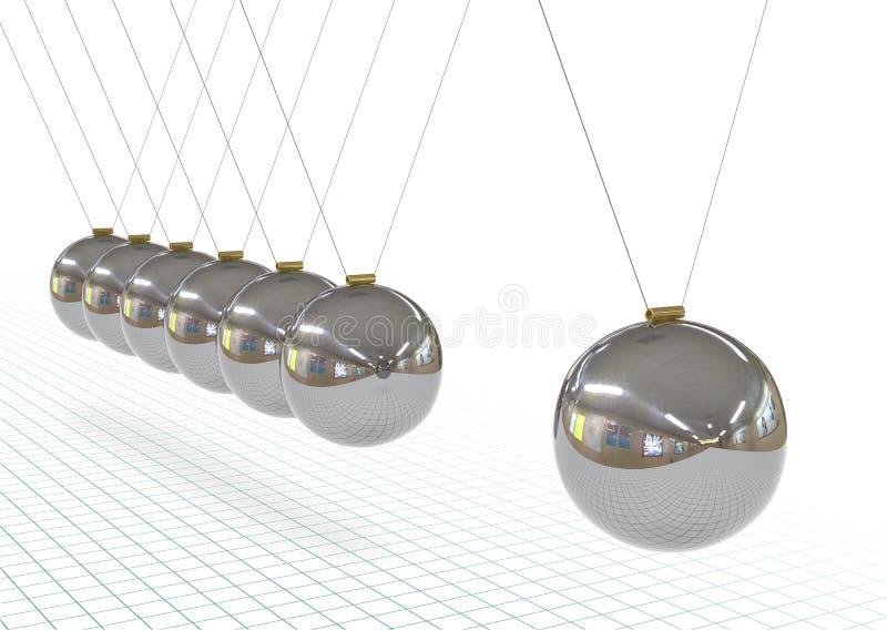 金属牛顿的摇篮-,银色,Chrome 3D摆锤 向量例证