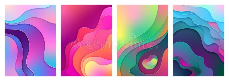金属现代梯度活跃混杂的梯度颜色纸裁减艺术 弯曲的,层状波形背景传染媒介 库存例证
