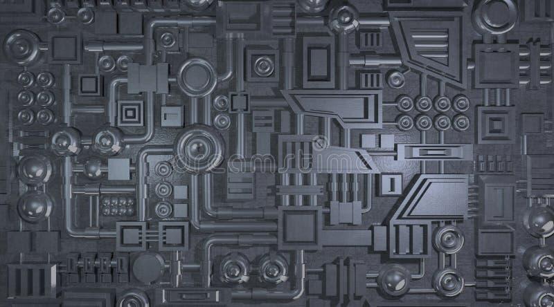 金属电子细节纹理 皇族释放例证