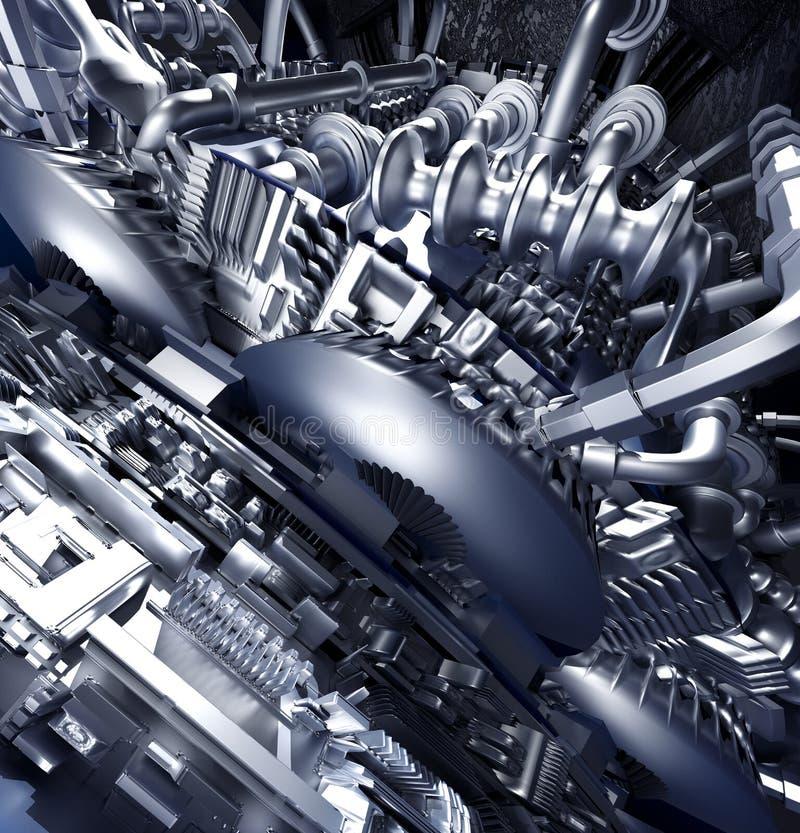 从金属的抽象高科技背景用管道输送技术冷却 向量例证