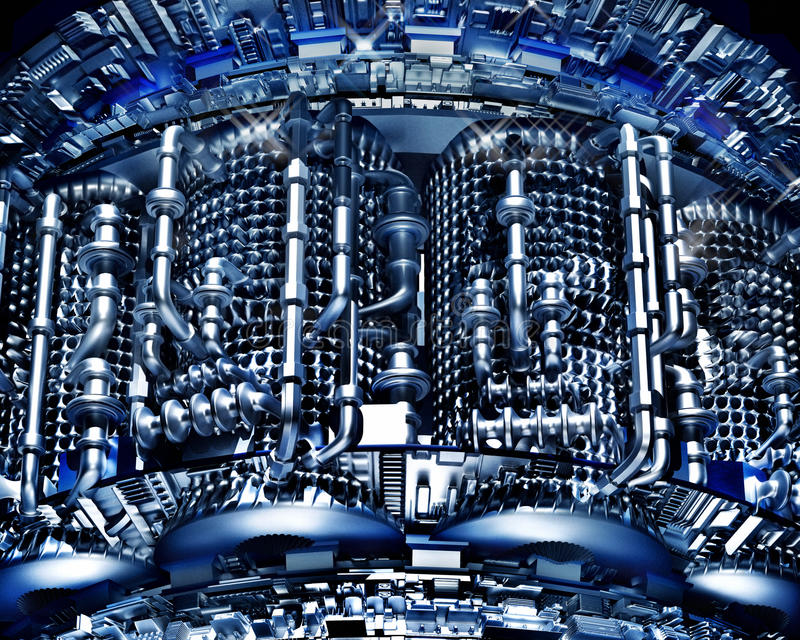 从金属的抽象高科技背景用管道输送技术冷却 库存例证
