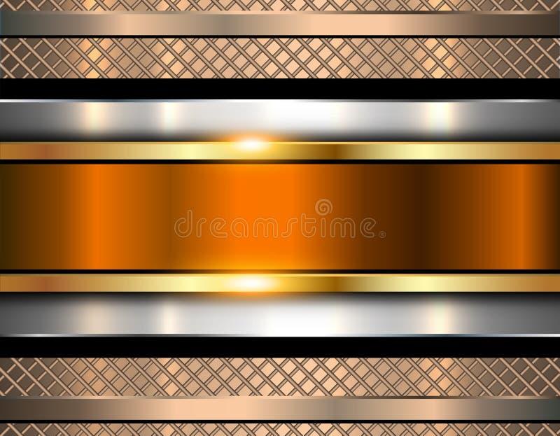 金属的背景,发光的金属纹理 库存例证