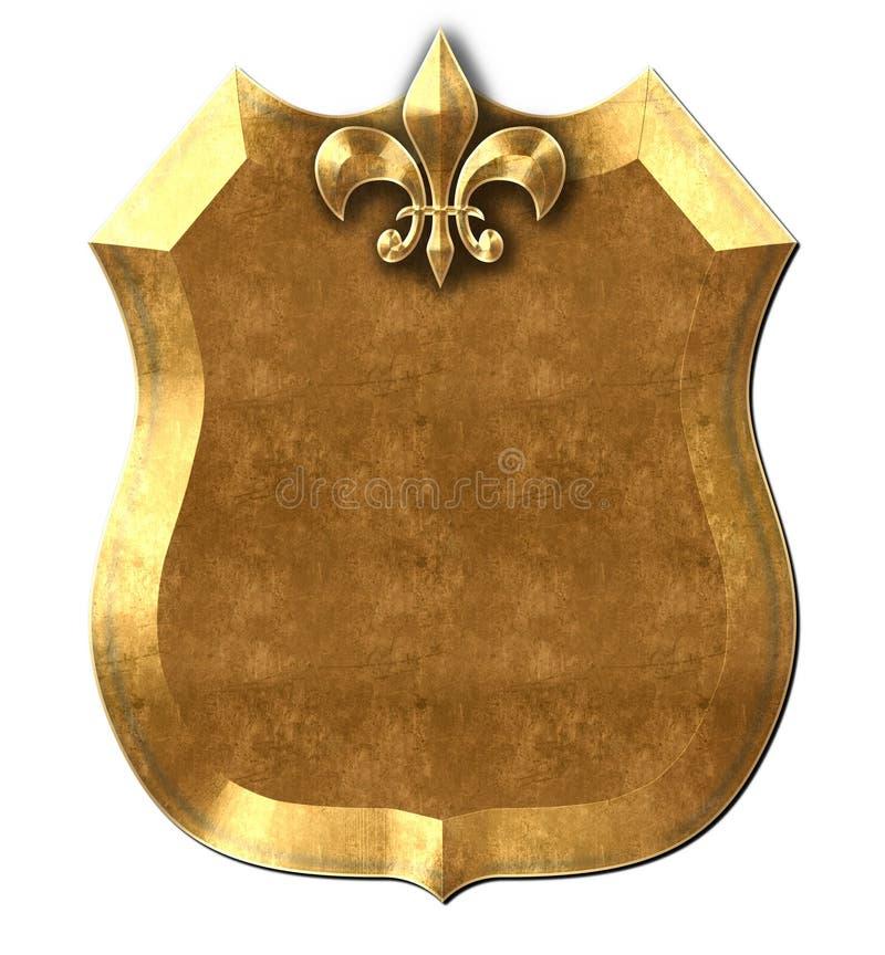 金属盾尾花标志 向量例证