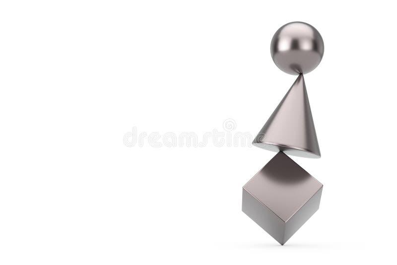 金属立方体、球形和锥体在平衡概念 3d?? 免版税库存照片