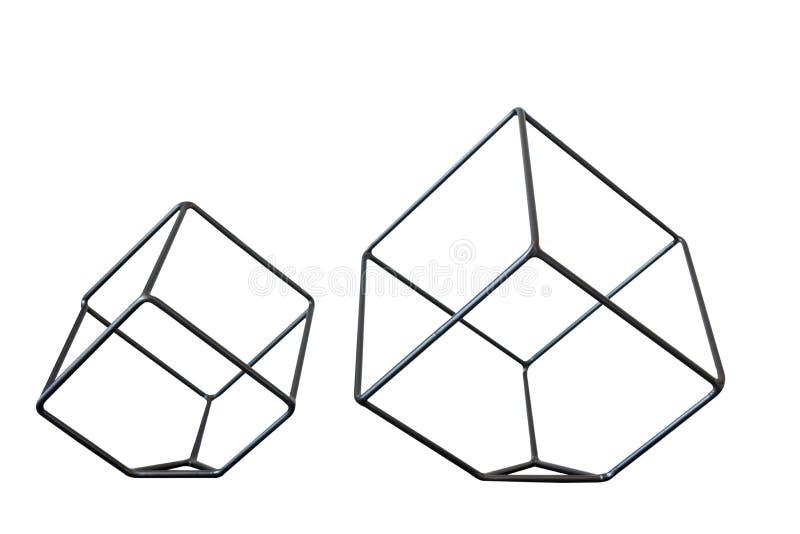 金属立方体在白色背景的形状装饰 免版税库存图片