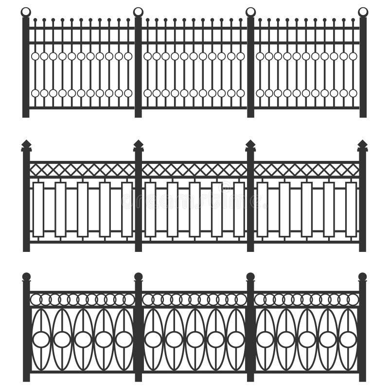 金属篱芭栅格,伪造的篱芭 一套篱芭由黑滤栅制成 连接的被隔绝的链子操刀金属 库存例证