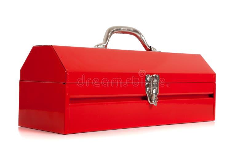 金属红色工具箱白色 图库摄影