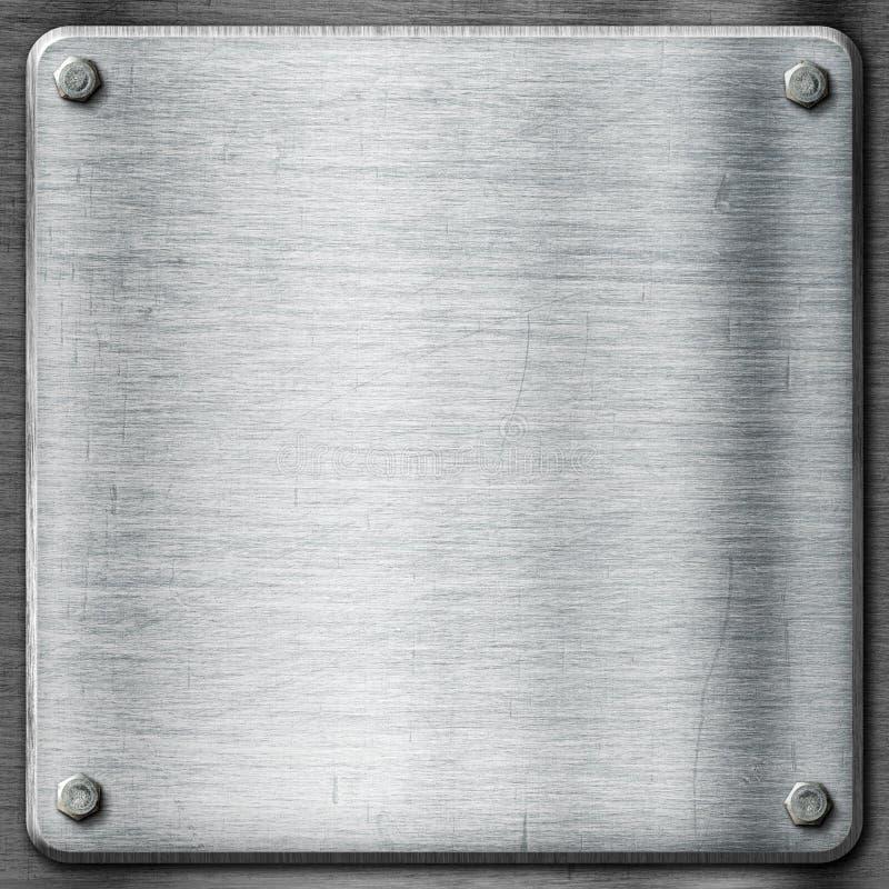 金属纹理模板背景。钢板。 免版税库存图片