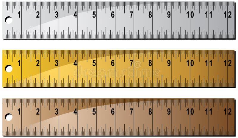 金属统治者集合木 向量例证