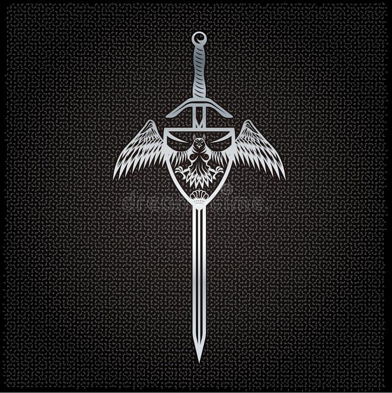 金属背景的冠和剑冠 向量例证