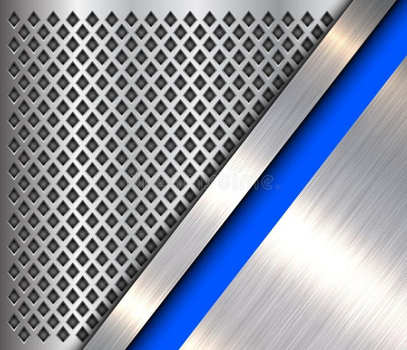 金属背景银蓝色 库存例证