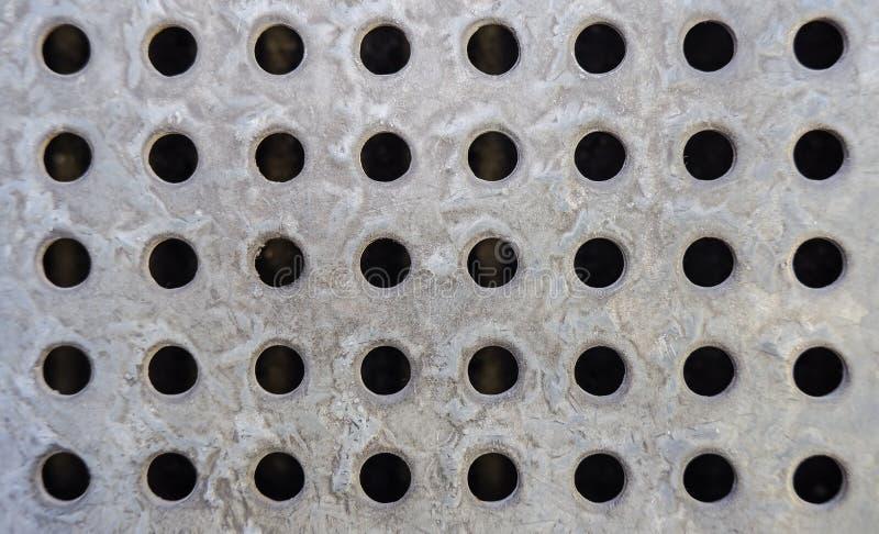 金属背景Taxture圈子,接近钢刺耳地板是排水设备路轨 图库摄影