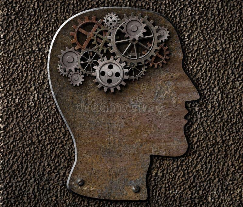 金属脑子齿轮和嵌齿轮 精神病 向量例证