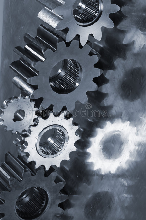 金属蓝色齿轮想法的机械 免版税库存图片