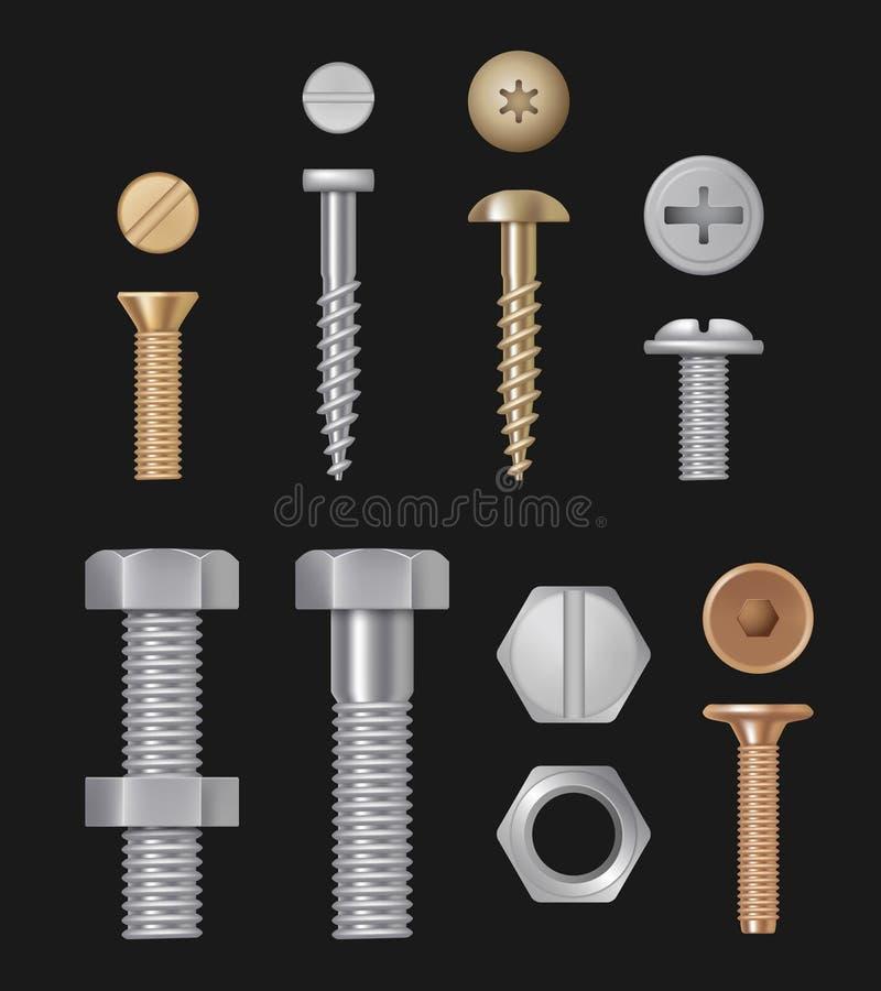 金属螺栓和螺丝 建筑硬件银修理工具 被隔绝的传染媒介现实模板 皇族释放例证