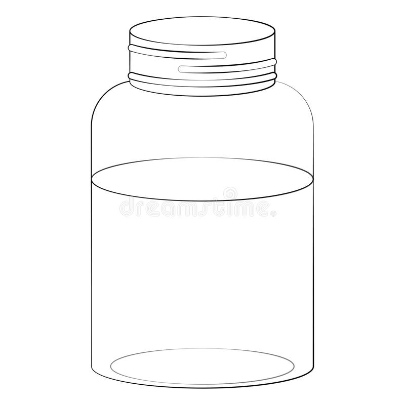 金属螺盖玻璃瓶和水例证 皇族释放例证