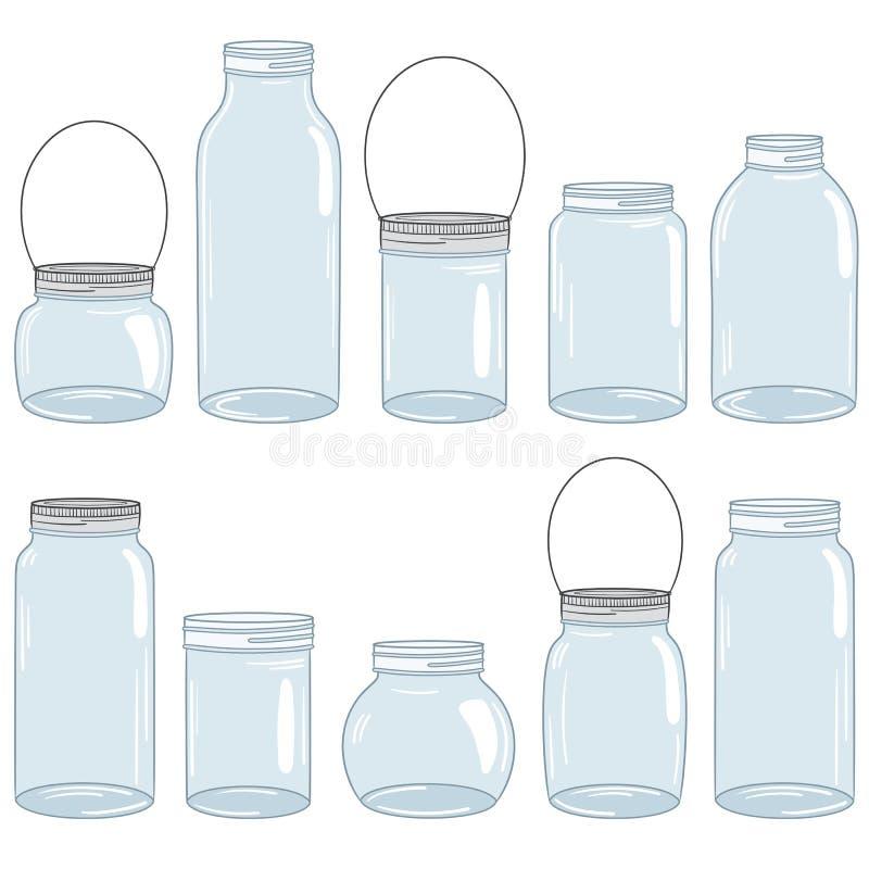 金属螺盖玻璃瓶集合 向量例证