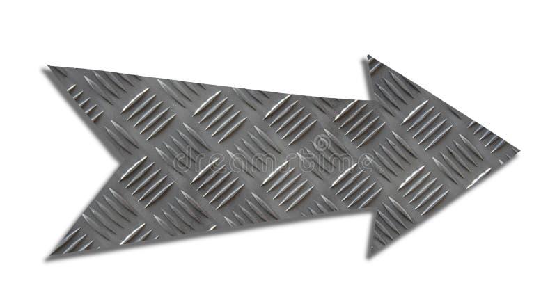 金属被删去被隔绝的铁方向箭头标志灰色钢验查员板材或金刚石板材工业金属纹理样式 免版税库存照片