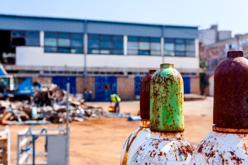 金属钢集气筒容器,乙炔,氧气 免版税库存图片