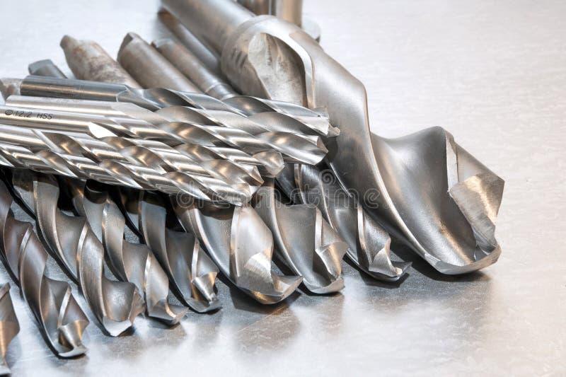 金属钻头 钻井的和制粉工业 特写镜头 免版税库存图片