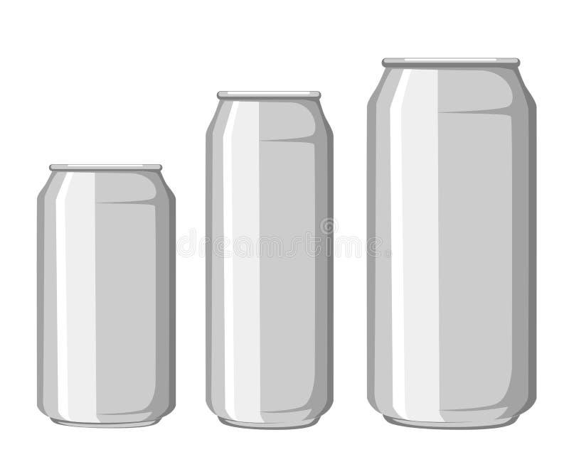 金属铝饮料饮料能大模型模板准备好您的设计 背景查出的白色 产品装箱 向量例证