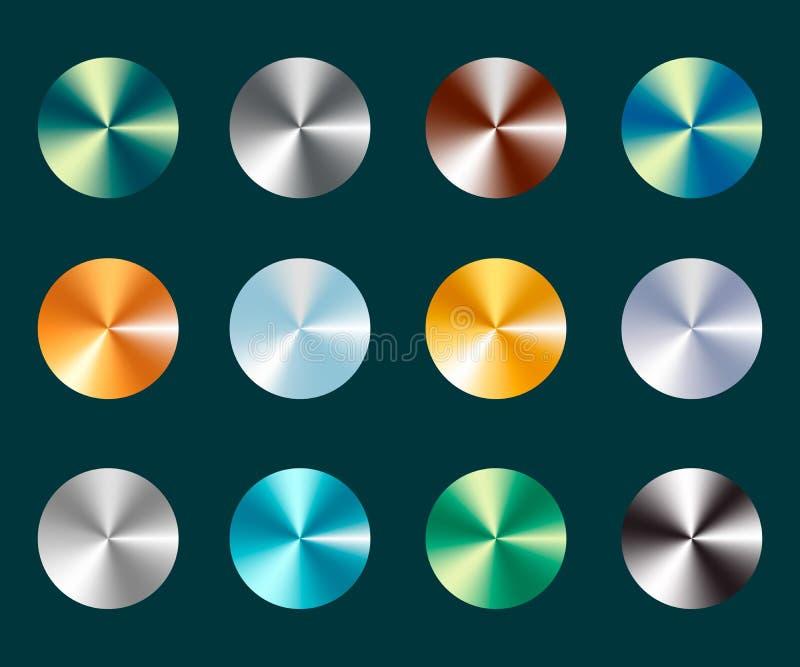 金属银和金圆锥形金属梯度 金属化银和在抽象背景的金器例证 不同的颜色 库存例证