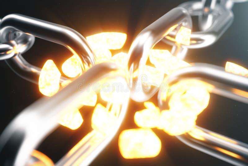 金属链子分开与炽热链接,衰弱链接 3d例证 库存例证
