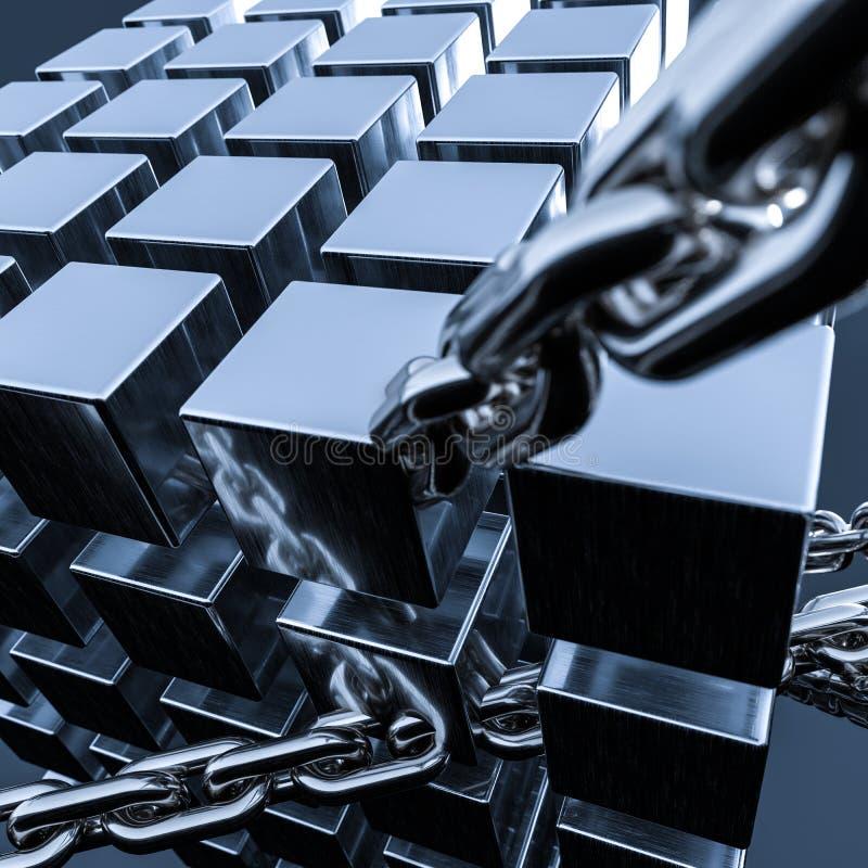 金属链子和立方体背景,3d翻译 库存例证