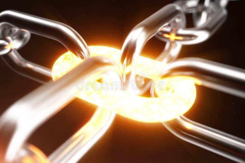 金属链子用炽热链接,力量概念连接 3d例证 向量例证