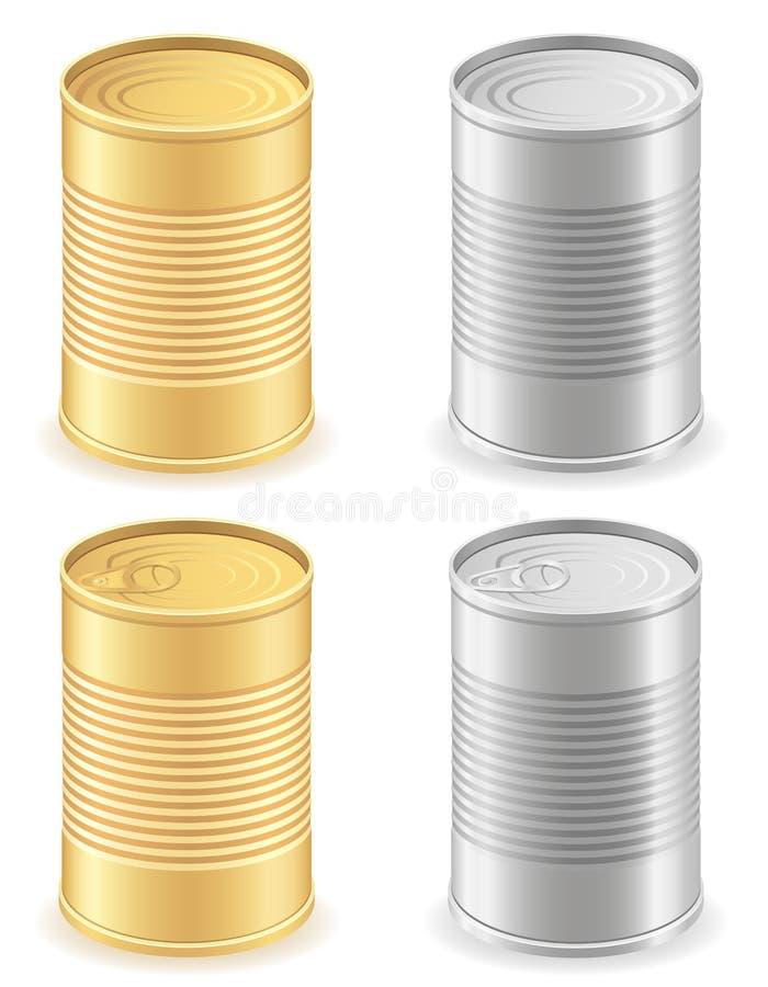 金属锡罐集合象传染媒介例证 库存例证