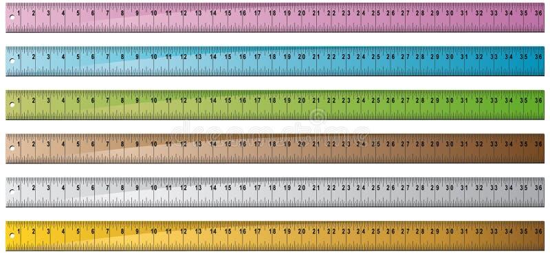 金属集合木码尺 向量例证