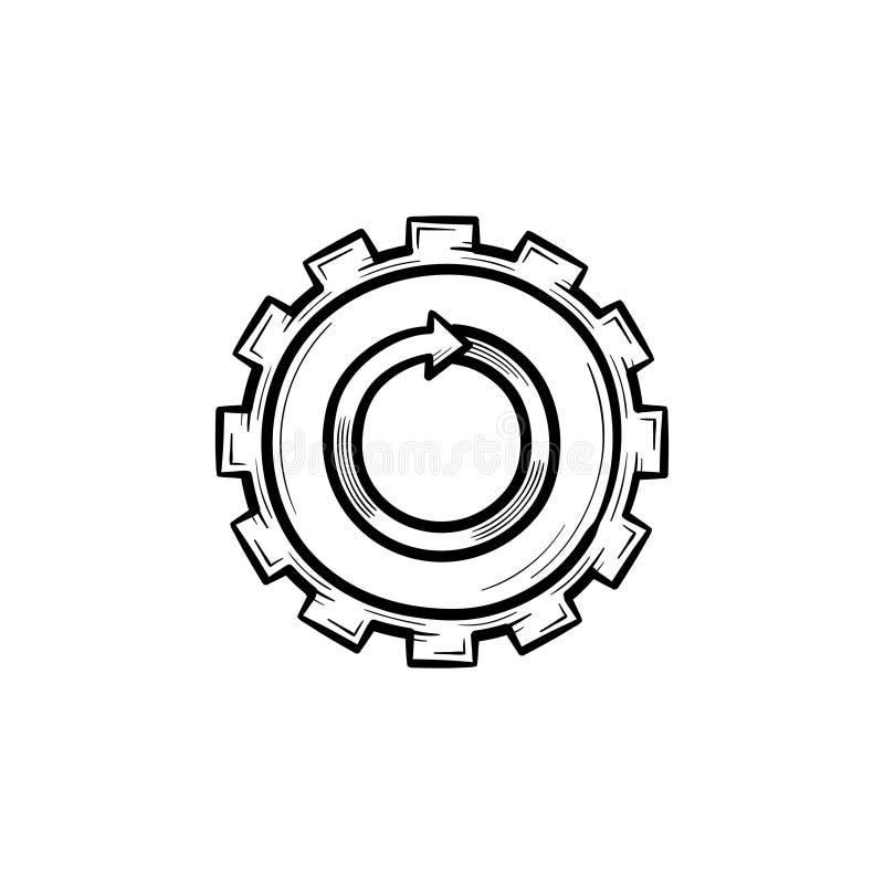 金属齿轮手拉的剪影象 向量例证