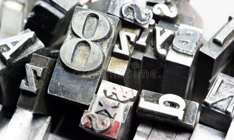 金属类型印刷机被排版的印刷术文本 免版税库存图片