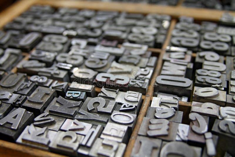 金属活版输入打印机盒 库存图片