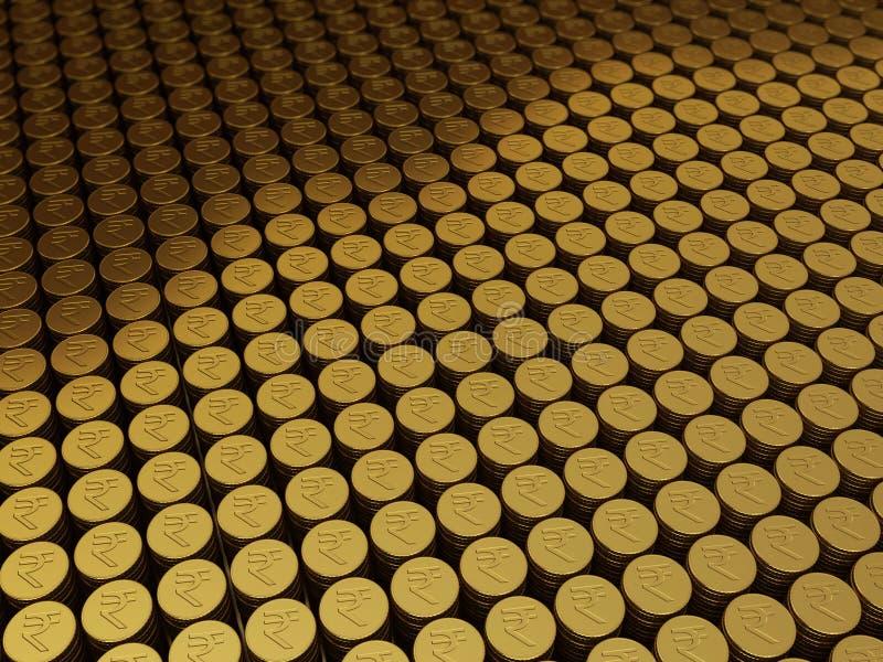 金币卢比标志 库存例证