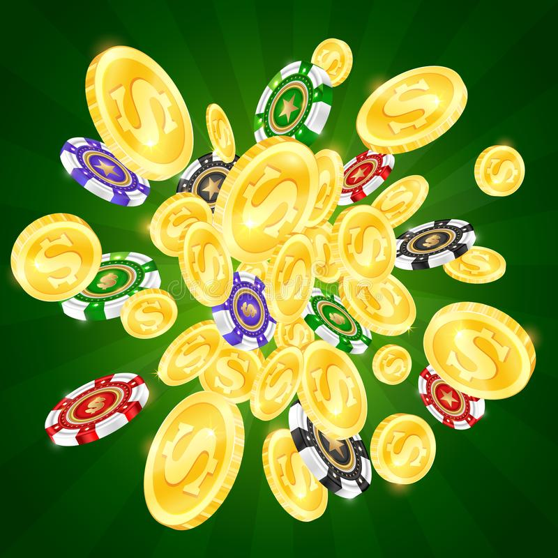 金币和色的赌博娱乐场芯片 库存例证