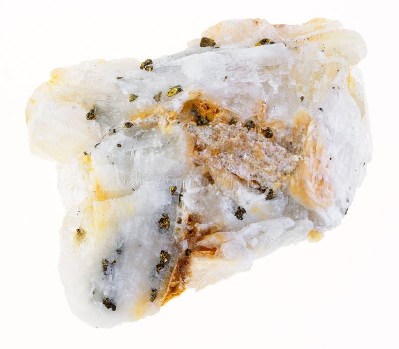 金币在粗砺的石英石头的在白色 免版税库存照片