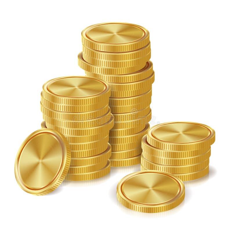 金币堆传染媒介 金黄财务象,标志,成功银行业务现金标志 3d概念投资查出的翻译 可实现 库存例证