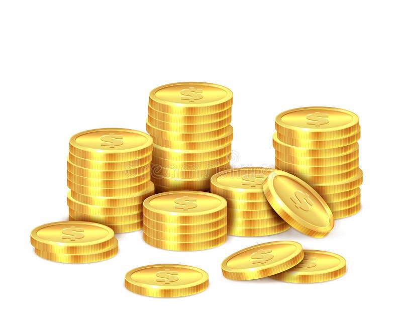 金币堆 现实金黄美元硬币金钱堆,被堆积的现金 赌博娱乐场奖金、赢利和收入传染媒介 向量例证