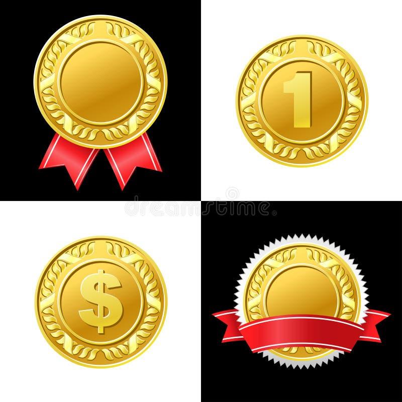 金币奖牌传染媒介象 向量例证