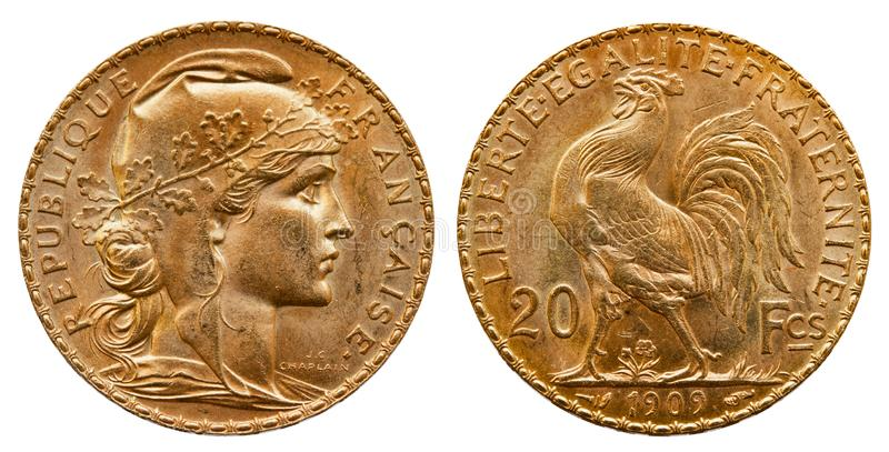 金币法国20法郎1909年 库存照片
