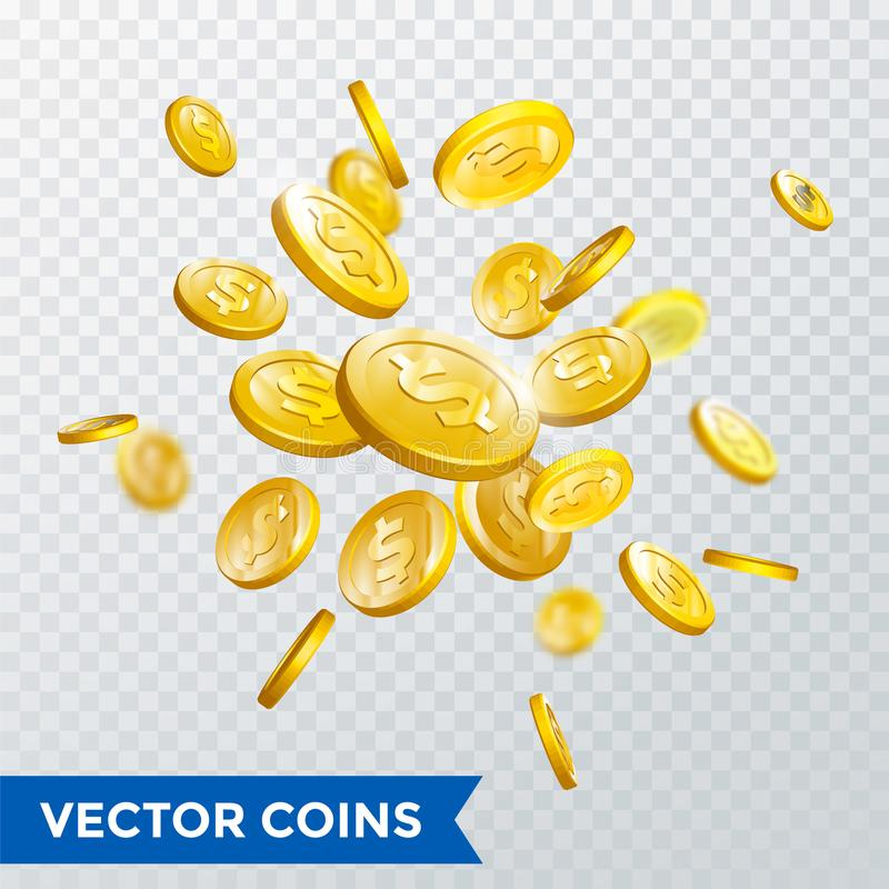 金币飞溅宾果游戏困境胜利赌博娱乐场啤牌铸造传染媒介3D背景 向量例证