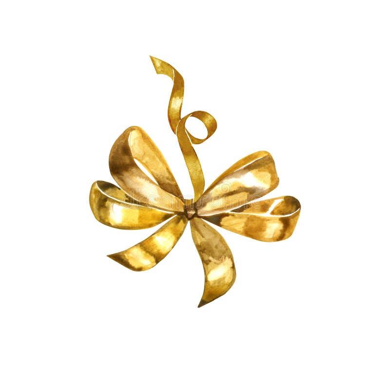 金弓水彩 黄色,金弓丝带油漆礼物 手绘的婚姻的装饰 decoretive美丽的丝带 库存例证