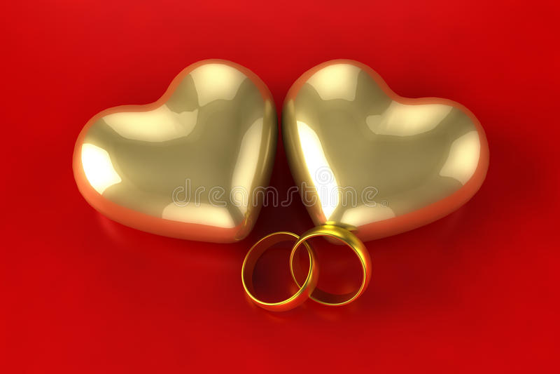 金心脏圆环 皇族释放例证